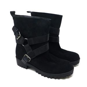 Nine West Suede Mid Calf Leather Harness Boots